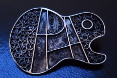 /AREA-GUITAR/ Sterling Silver Filigree Brooches / Dimension 4.5 x 3.5 cm