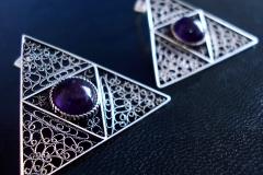 /Triangle Eye/ Sterling Silver Filigree Earrings / Amethyst round 1.0 cm / Dimension 3.8 x 3.8 cm