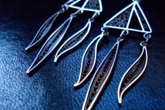 /Dem-Africa/ Silver Filigree Earrings / Dimension 1.5 x 6.5 x 2.0 cm