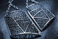 /Bis-Ra/ Sterling Silver Filigree Earrings / Dimension 4.5 x 3.5 x 3.0 cm