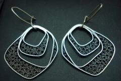 /Block/ Sterling Silver Filigree Earrings / Dimension 3.2 x 2.7 x 1.8 cm