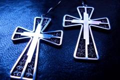 /IE-Cross/ Sterling Silver Filigree Earrings / Dimension 4.5 x 3.5 x 1.5 cm
