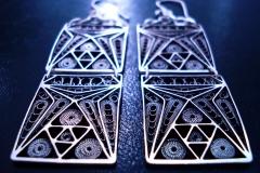 /E-Line/ Sterling Silver Filigree Earrings / Dimension 2.5 x 6.0 x 2.5 cm