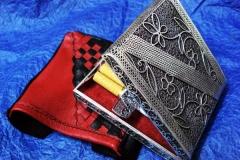 /Cigarette Case/ Sterling Silver Filigree Forms / Dimensions 9.3 x 8.0 x 1.7 cm