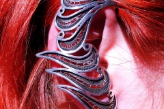 /33/ /Single Whole-Ear Cuff Earring/ Sterling Silver Filigree Free-Form / Dimension 4.8 cm x 2.5 cm