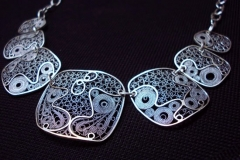 /Block-N/ Sterling Silver Filigree Necklaces / Dimension 45.0 x 4.5 cm
