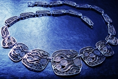 /Lid-nF/ Sterling Silver Filigree Necklaces / Dimension 45.0 x 4.5 cm