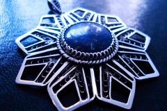 /Geometric Rosetta - Lapis Eye/ Sterling Silver Filigree Pendant / Lapis Lazuli round 2.0 cm / Dimension round 5.5 cm