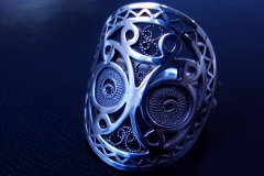 /Totem Face/ Sterling Silver Filigree Rings / Dimension round 3.0 cm