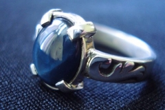 /Blue Star/ Sterling Silver Rings Afghanistan Blue Star Sapphire 9.0 x 7.0 x 3.5 cm