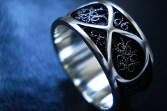 /Infinity blue/ Sterling Silver Filigree Rings / Dimension 0.9 x 0.2 cm