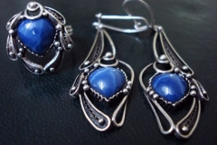 /Egyptian Scarab/ Russian Post-Concept / Sterling Silver Filigree Sets Blue Star Sapphire-Heart 1.0 x 1.0 cm / Dimension Earring 1.8 x 4.5 x 1.6 cm