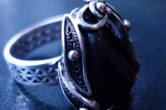 Russian Post-Concept / Sterling Silver Filigree Rings / Black Onyx / Dimension 1.8 x 1.6 cm / RI 00039