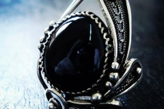 /Ir-Ox Post-Contact/ Russian Post-Concept / Sterling Silver Filigree Ring Black Onix 2.2 x 1.8 cm / Dimension 3.0 x 2.5 cm