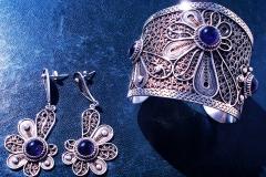 /Amet-S/ Sterling Silver Filigree Sets / Bracelets-Dimension 5.0 x 6.0 x 5.0 cm / Three Amethyst Round 1.0 cm Earrings-Dimension 1.5 x 4.0 x 3.0 cm /Amethyst round 1.0 cm
