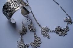 Sterling Silver Filigree Sets / Dimension Bracelet 6.0 x 5.0 x 4.5 cm.../ SE. 00017