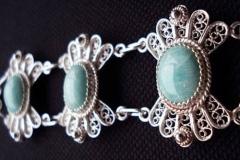 Sterling Silver Filigree Bracelets / Amazonit 1.3 x 1.1 cm Dimension 21.0 x 2.5 cm / BR 00001