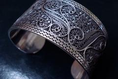 /SS/ Sterling Silver Filigree Bracelets / Dimension 6.0 x 5.0 x 4.0 cm