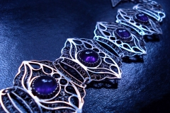 /Gor-Do-A/ Sterling Silver Filigree Bracelet / Amethyst Round 1.0 cm / Dimension 4.0 x 21.0 cm
