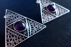 /Triangle Eye/ Sterling Silver Filigree Earrings / Amethyst round 1.0 cm / Dimension 3.8 x 3.8 cm