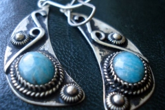 Sterling Silver Filigree Earrings / Russian Amazonite 1.0 x 0.8 cm / Dimension 1.8 x 5.0 x 2.5 cm