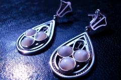 /K-Middleton/ Sterling Silver Filigree Earrings / Dimension 5.0 x 2.0 cm Ohrid Pearl round 0.5 cm