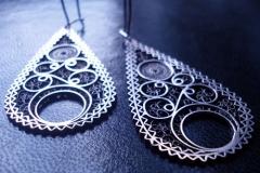 Sterling Silver Filigree Earrings / Earrings EA 00037 Dimension 1.8 x 5.0 x 3.0 cm