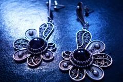 /Ametist-R-E/ Sterling Silver Filigree Earrings / Amethyst round 1.0 cm / Dimension 1.5 x 4.0 x 3.0 cm