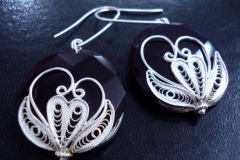 Sterling Silver Filigree Earrings / Black Onyx Dimension 0 x 0 cm / EA 00028