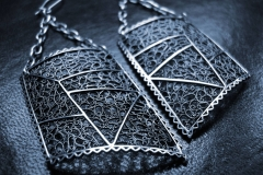 /Bis-Ra/ Sterling Silver Filigree Earrings / Dimension 4.5 x 3.5 x 3.0 cm
