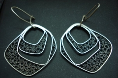 /Block/ Sterling Silver Filigree Earrings / Dimension 3.2 x 2.7 x 1.8 cm