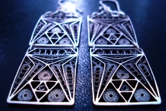 /E-Line/ Sterling Silver Filigree Earrings / Dimension 2.5 x 6.0 x 2.5 cm