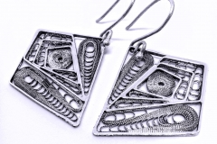 /Geo-Vortex/ Sterling Silver Filigree Earrings / Dimension 2.5 x 2.0 x 1.8 cm