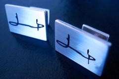 /B-Zi/ /Cuff-links/ Sterling Silver Forms / Dimension 1.4 x 1.0 cm