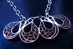 /4 Eyes 4/ Sterling Silver Filigree Necklaces / Dimension 6.0 x 3.0 x 45.0 cm