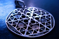 /66/ Sterling Silver Filigree Pendant / Dimension round 6.6 cm