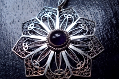 /Application 6/ Sterling Silver Filigree Pendant / Amethyst round 1.0 cm / Dimension round 5.5 cm