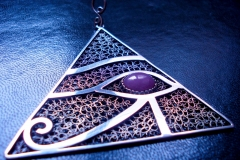 /Ra-Pyramid Eye Horus/ Sterling Silver Filigree Pendant / Dimension 7.0 x 7.0 x 7.0 cm+1.0 cm / Sapphire called Ruby 1.3 x 1.0 cm