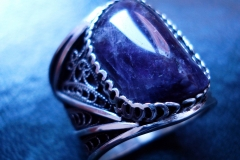 /Lines-R/ Sterling Silver Filigree Rings / Dimension 2.1 x 0.2 cm / Amethyst freeform 1.8 x1.3 cm