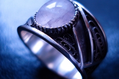 /Lines/ Sterling Silver Filigree Rings / Dimension 1.2 x 0.2 cm / Rose Quartz 1.0 x 0.8 cm