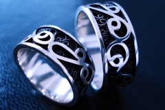 /Zvon/ Sterling Silver Filigree Rings / Dimension 0.8 x 0.2 cm