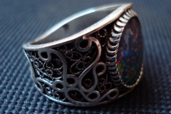 Sterling Silver Filigree Rings / Australian Matrix Opal 1.3 x 1.1 cm / RI. 00010