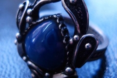 /Egyptian Scarab/ Russian Post-Concept / Sterling Silver Filigree Ring Blue Star Sapphire-Heart 1.0 x 1.0 cm