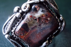 /Mi-Ar/ Russian Post-Concept / Sterling Silver Filigree Rings Jasper 2.0 x 1.8 cm / Dimension 2.5 x 2.2 cm