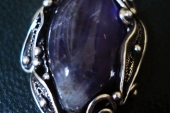 Russian Post-Concept / Sterling Silver Filigree Pendant Amethyst 2.0 x 1.5 cm / Dimension 4.0 x 2.5 cm / BR 00052