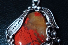 Russian Post-Concept / Sterling Silver Filigree Necklaces Jasper 2.0 x 1.6 cm / Dimension 3.0 x 2.0 cm / NE 00008
