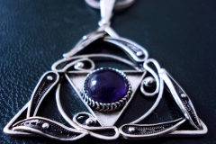 /1.6180/ Russian Post-Concept / Sterling Silver Filigree Pendant Amethyst Round 1.0 cm / Dimension 3.8 x 3.8 cm