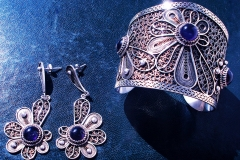 /Amet-S/ Sterling Silver Filigree Sets / Bracelets-Dimension 5.0 x 6.0 x 5.0 cm / Three Amethyst Round 1.0 cm Earrings-Dimension 1.5 x 4.0 x 3.0 cm /Amethyst round 1.0 cm