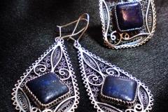 Sterling Silver Filigree Sets / Lapis Lazuli 1.0 x1.0 cm Dimension 7.0 x 3.0 cm / SE 00016