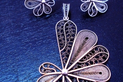 /Tin-S/ Sterling Silver Filigree Sets / Dimension Earrings 3.0 x 2.5 cm, Pendant 5.0 x3.5 cm